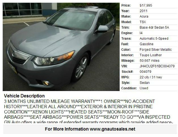 2011 Acura TSX for sale in CHANTILLY VA