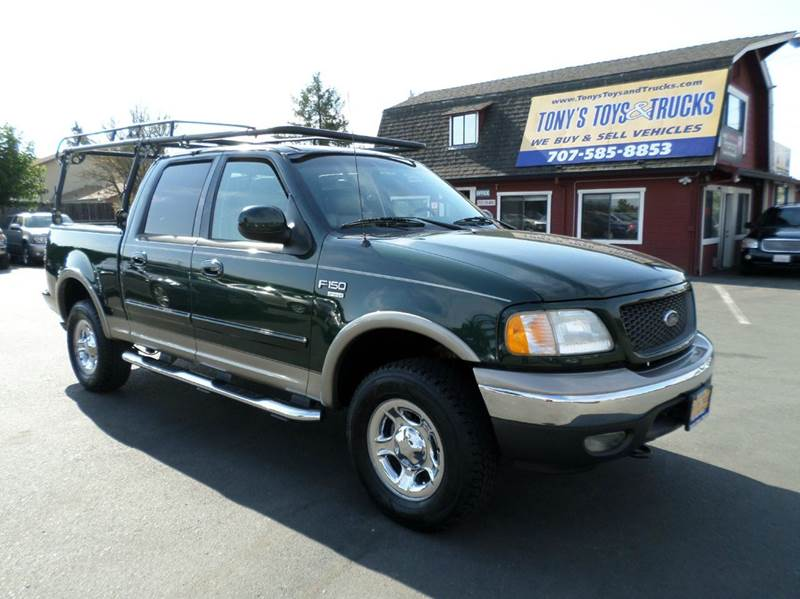 2002 FORD F-150 LARIAT 4DR SUPERCREW 4WD STYLESI green 4x4 leather abs - 4-wheel a
