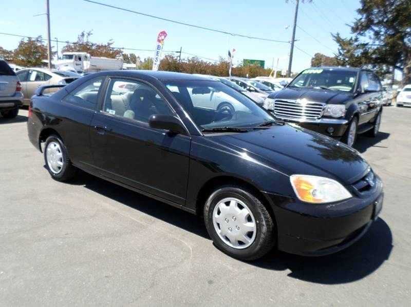 2002 HONDA CIVIC LX 2DR COUPE WSIDE AIRBAGS black new tires anti-theft system - alarm c