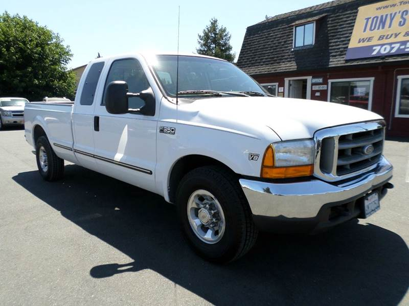 1999 FORD F-350 SUPER DUTY LARIAT 4DR EXTENDED CAB LB white 73 diesel long bed new