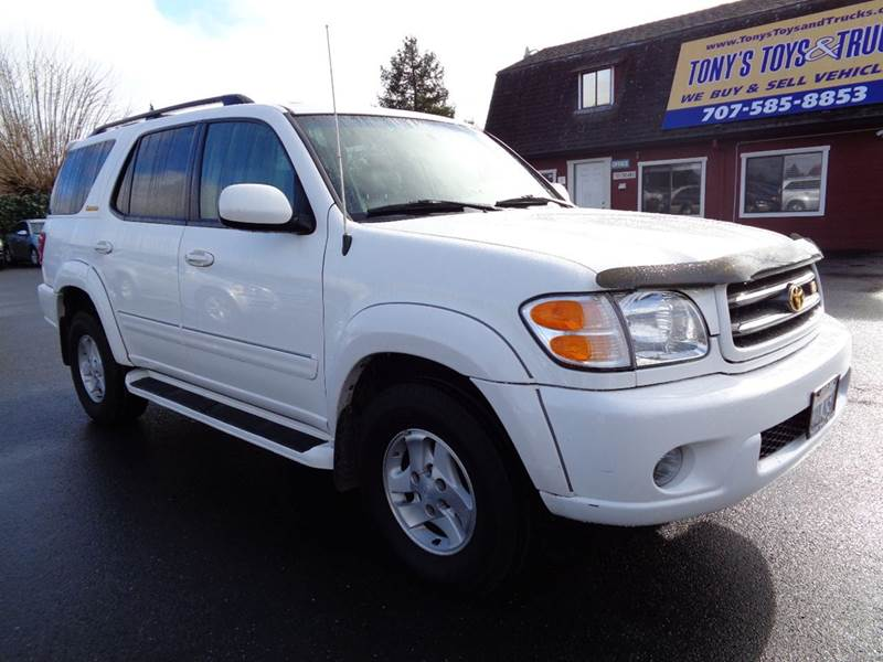 2002 TOYOTA SEQUOIA LIMITED 4WD 4DR SUV white one owner vehicle3rd row seating  abs -