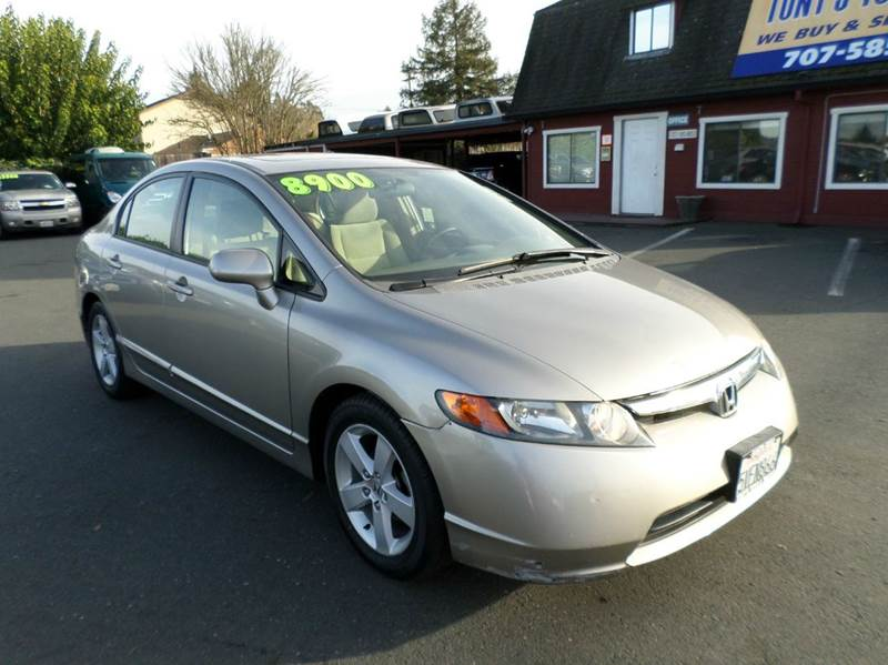 2006 HONDA CIVIC EX 4DR SEDAN WAUTOMATIC pewter one owner vehicle new tires abs - 4-w