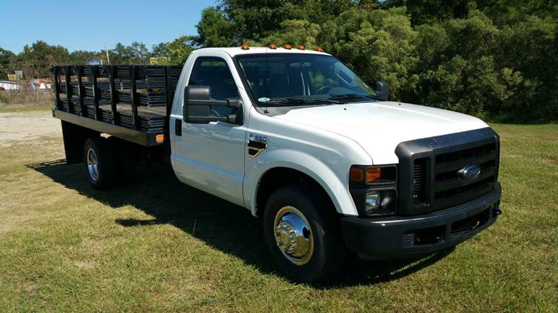 2008 FORD F-350 SD 12 FT FLAT BED 2DR 12FT FLAT BED white regular cab with a 12ft flat bed with s