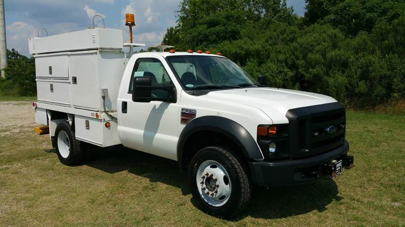 2008 FORD F-550 4X4 FLAT BED 2DR 9FT FLAT BED WBOXES white this truck has a lot of potential yo