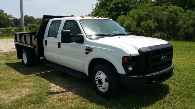 2009 FORD F-350 XL FLAT BED SUPER DUTY CREW CAB 4X2 85 FT STEEL BED DR white exceptionally nice