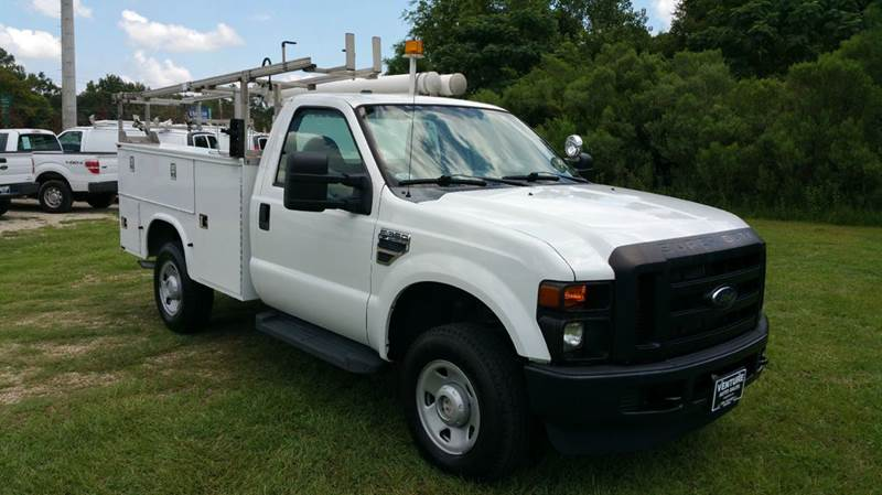 2009 FORD F350 XL 4X4 SERVICE TRK 2DR REG CAB white knapheide service body with top boxes bed bo