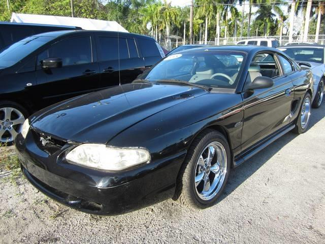 1998 FORD MUSTANG GT 2DR COUPE black rear spoiler front air conditioning steering wheel trim l