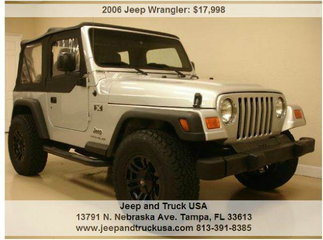used 2006 jeep wrangler x 2dr 4wd in tampa fl at jeep and truck usa. Black Bedroom Furniture Sets. Home Design Ideas