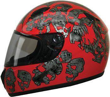 2014 HCI Red Screaming Skulls Full face helmets
