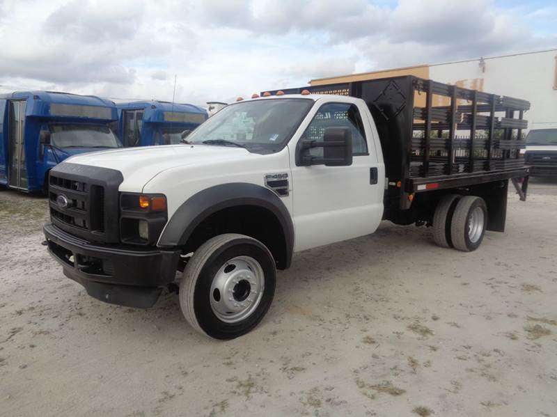 2008 ford f 450 regular cab flatbed stake body truck in hialeah fl miami truck center. Black Bedroom Furniture Sets. Home Design Ideas