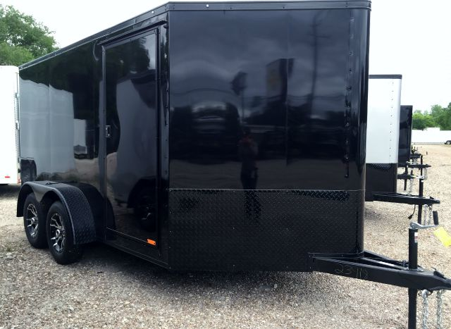 2016 CONTINENTAL CARGO 7 X 12 BLACK OUT TANDEM AXLE MOTORCYCLE TRAILER