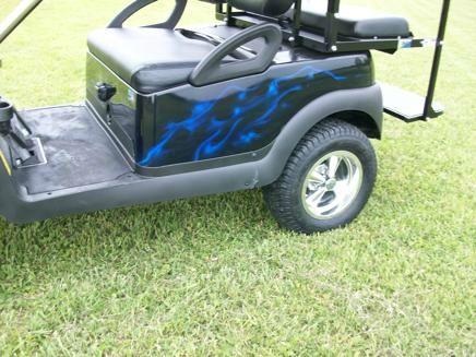 2014 Club Car Precedent Custom Painted Body Blue Flames Airbrushed  - Acme PA