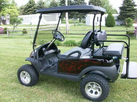 2008 Lifted Club Car with Red Flames Golf Cart,Precedent,  4 Passenger - Ac