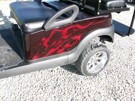2007 Custom Club Car Lifted with Mg Wheels Lifted 4 Passenger Golf Cart with Blue Flames