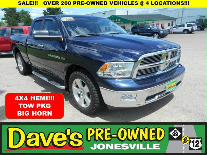 2012 RAM RAM PICKUP 1500 BIG HORN 4X4 4DR QUAD CAB 63 FT blue 0 reported accidents on the hemi b
