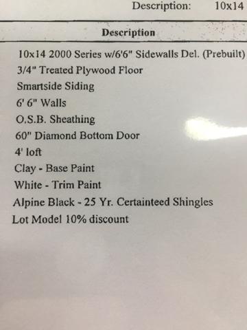 2017 Alpine Structures 10x14 Barnstyle  - Bentleyville PA