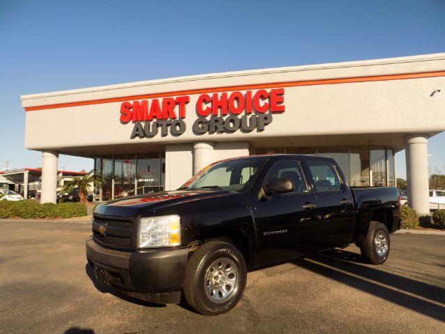 2011 CHEVROLET SILVERADO 1500 WORK TRUCK 4X2 4DR CREW CAB 58 black abs brakesair conditioninga
