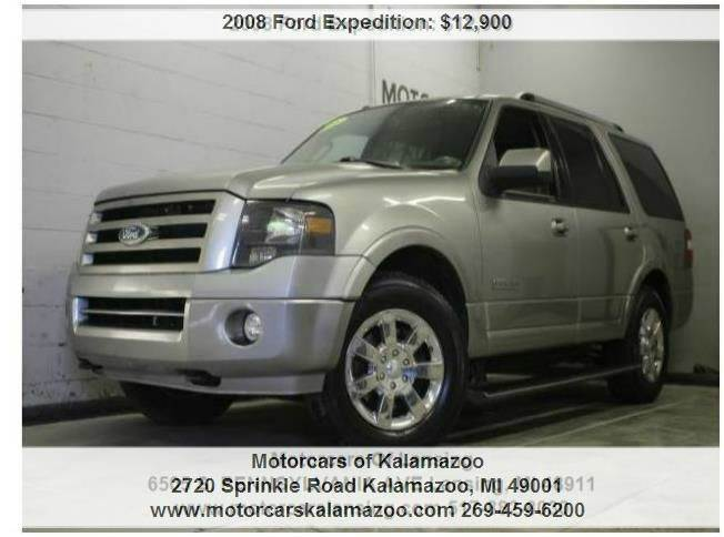 2008 FORD EXPEDITION LIMITED 4X4 SUV gray leather loaded third row seating
