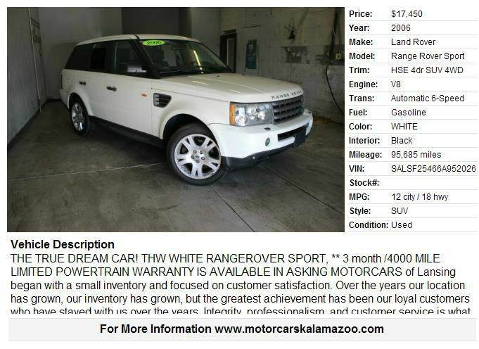 2006 LAND ROVER RANGE ROVER SPORT HSE 4DR SUV 4WD white 44l v8 32v 4wd and black leather gps