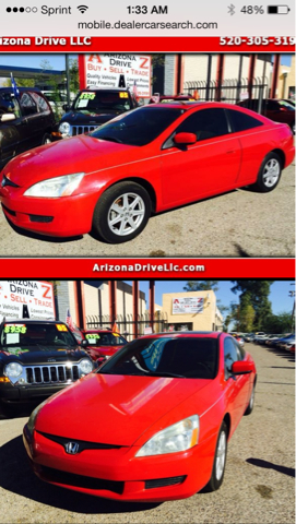 2003 HONDA ACCORD EX V6 COUPE AT red 74000 miles VIN 1HGCM82673A007397