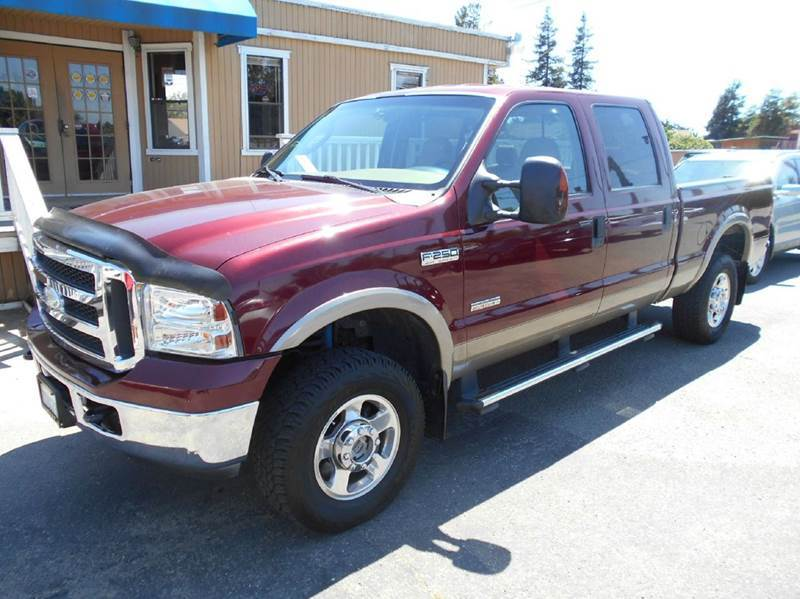 2005 FORD F-250 SUPER DUTY LARIAT 4DR CREW CAB 4WD SB red abs - 4-wheel anti-theft system - alar