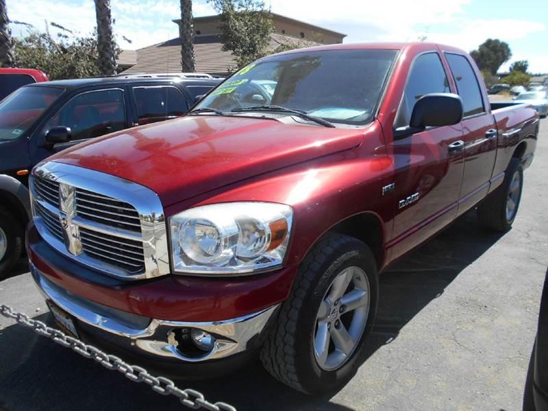 2008 DODGE RAM PICKUP 1500 BIG HORN 4DR QUAD CAB SB RWD red 2-stage unlocking doors abs - rear