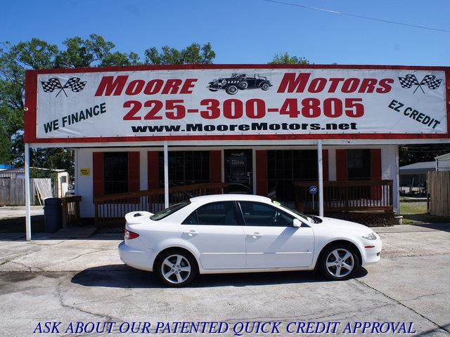 2004 MAZDA MAZDA6 S 4DR SPORTSEDAN white at moore motors everybody rides good credit bad credi