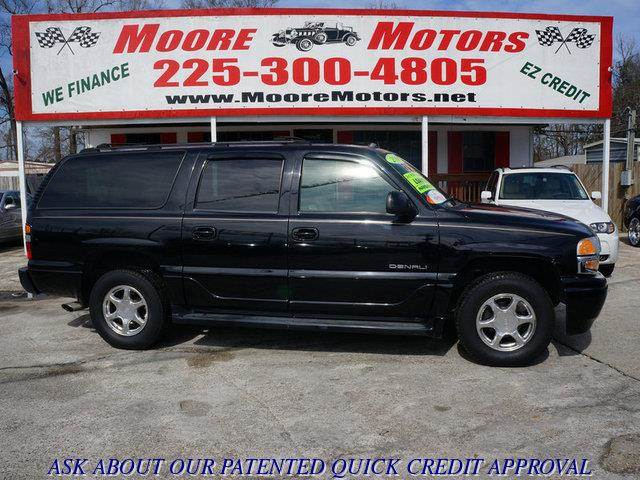 2004 GMC YUKON XL DENALI AWD 4DR SUV white at moore motors everybody rides good credit bad cre