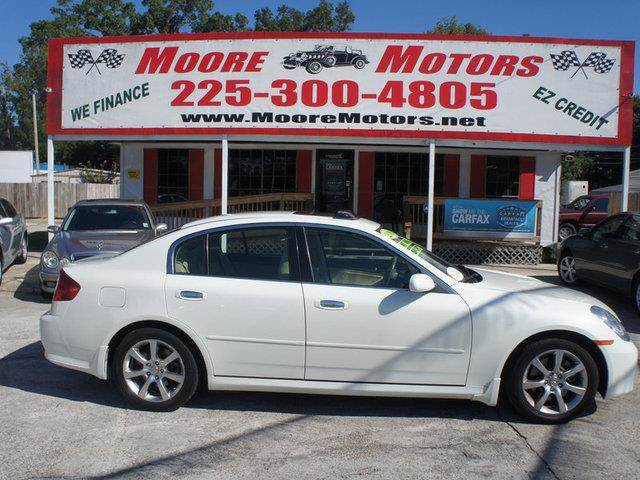 2006 INFINITI G35 BASE 4DR SEDAN 35L V6 5A white at moore motors everybody rides good credit