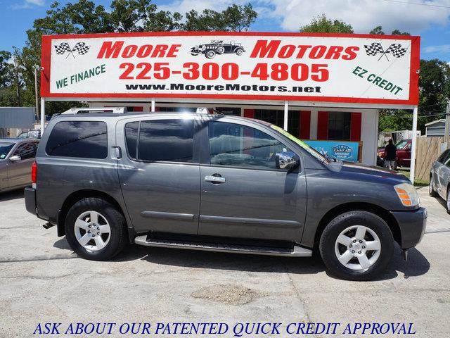 2004 NISSAN ARMADA SE 2WD gray at moore motors everybody rides good credit bad credit no prob