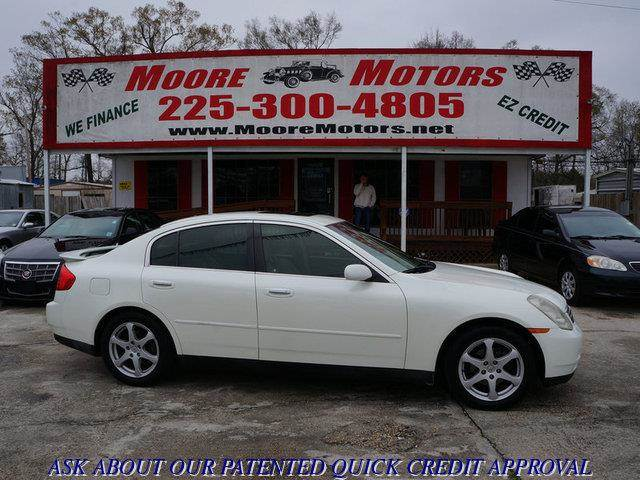 2003 INFINITI G35 BASE LUXURY 4DR SEDAN WLEATHER white at moore motors everybody rides good cr
