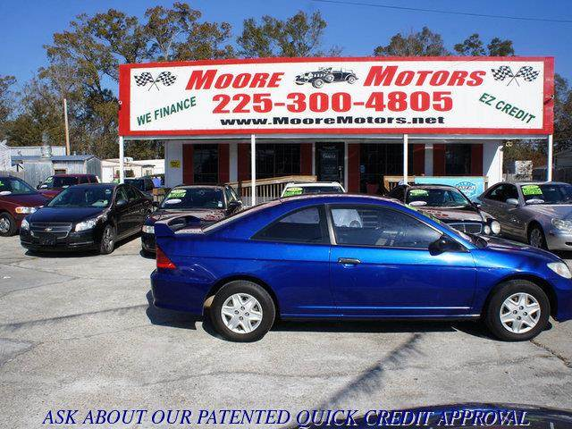 2004 HONDA CIVIC VALUE PACKAGE 2DR COUPE blue at moore motors everybody rides good credit bad