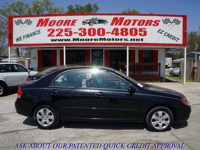 2009 KIA SPECTRA LX 4DR SEDAN 4A black at moore motors everybody rides good credit bad credit