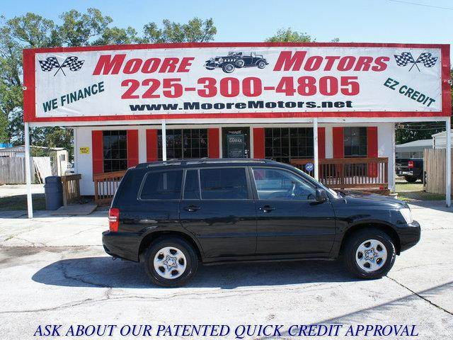 2003 TOYOTA HIGHLANDER V6 2WD black at moore motors everybody rides good credit bad credit no