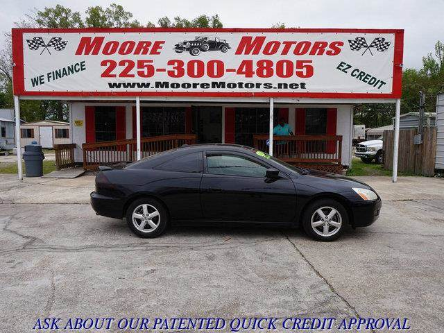 2005 HONDA ACCORD EX COUPE AT WITH LEATHER AND black at moore motors everybody rides good credi