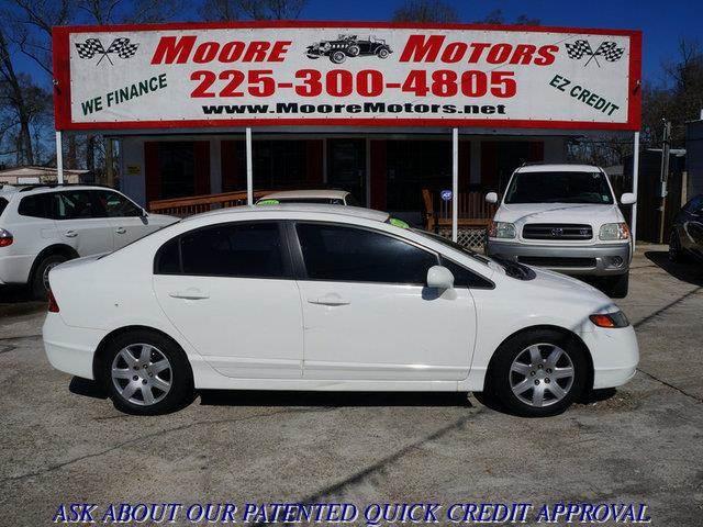 2007 HONDA CIVIC LX 4DR SEDAN white at moore motors everybody rides good credit bad credit no