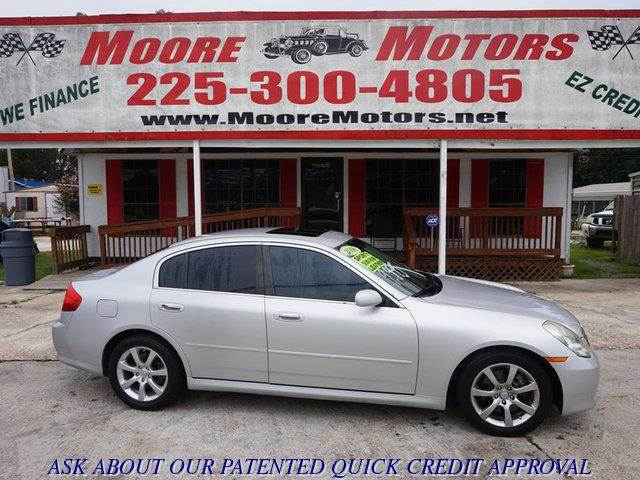 2006 INFINITI G35 BASE 4DR SEDAN 35L V6 5A silver at moore motors everybody rides good credi