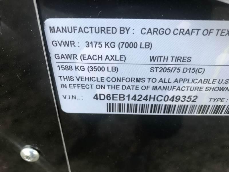 2017 CARGO CRAFT 7X14 RAMP EV7142 - New Braunfels TX